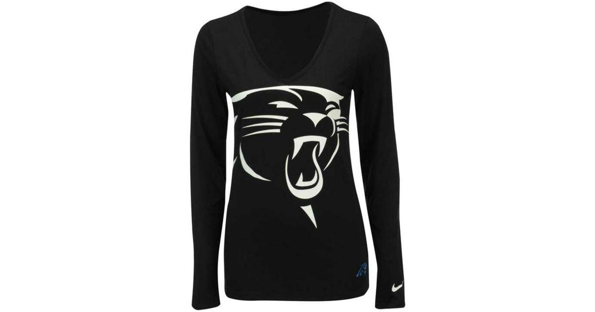 280edcb37 Lyst - Nike Women s Long-sleeve Carolina Panthers Logo Wrap T-shirt in Black