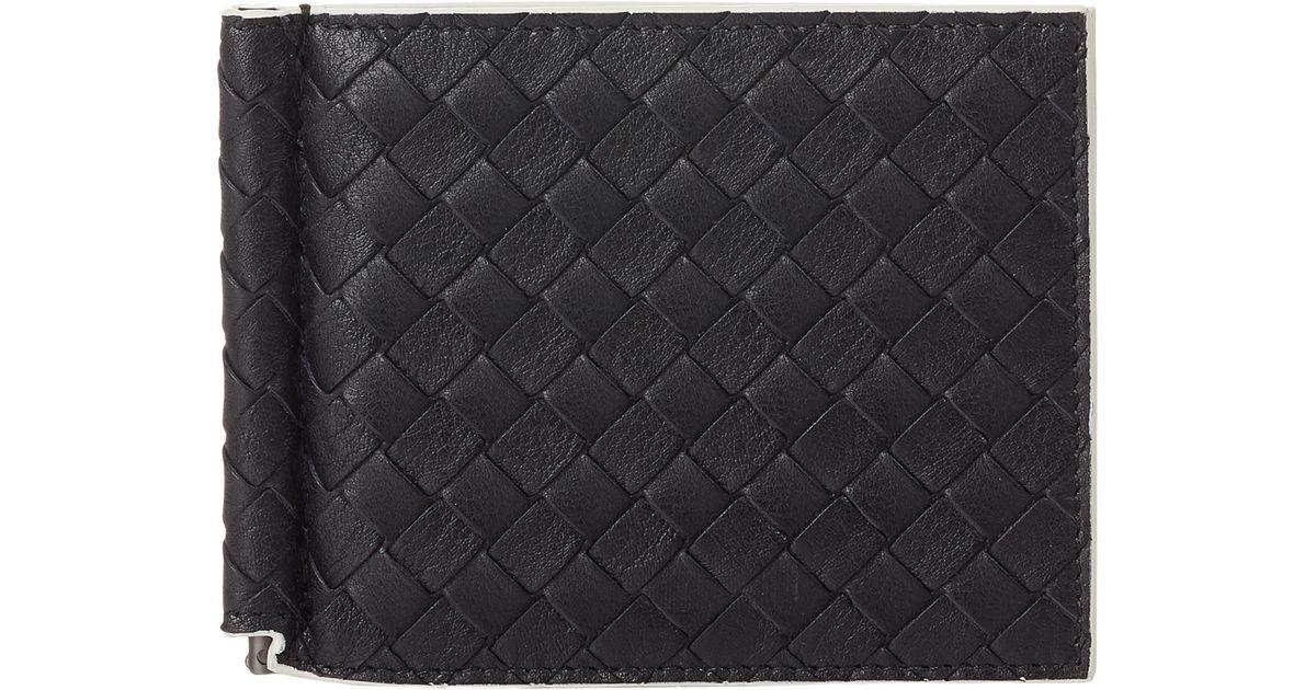 Bottega Veneta - Black Intrecciato Money Clip Bifold Wallet for Men - Lyst