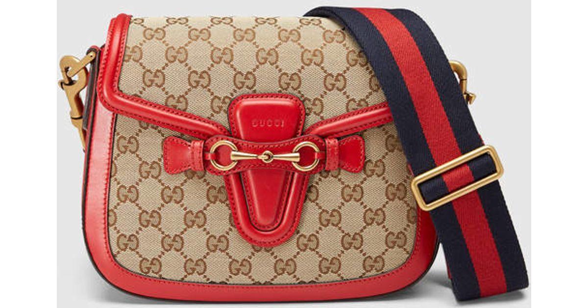 247a23ad017 Lyst - Gucci Lady Web Original Gg Shoulder Bag in Red
