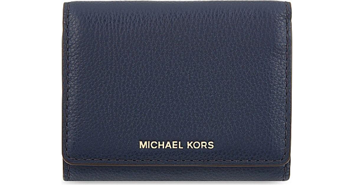 c3da9856cf0e MICHAEL Michael Kors Liane Small Grained Leather Wallet in Blue for Men -  Lyst