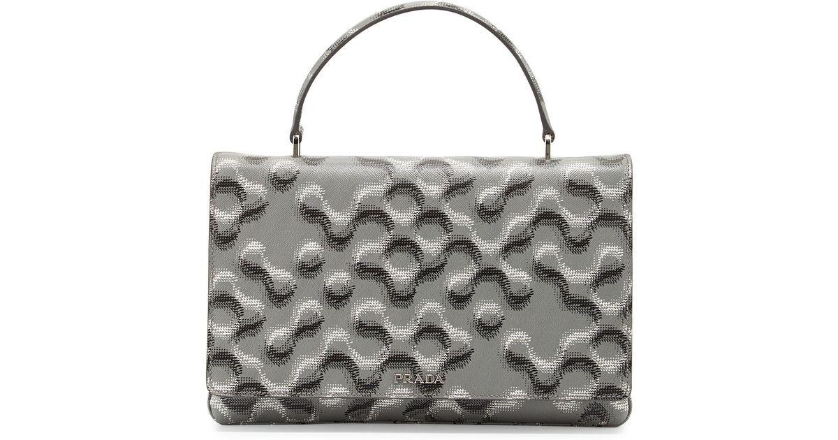 prada fringe handbag - Prada Molecule-print Saffiano Top-handle Bag in Pink (ROSE) | Lyst