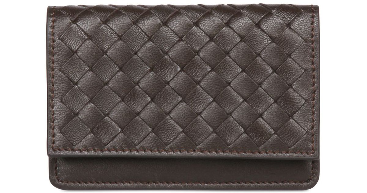 Lyst - Bottega Veneta Intrecciato Leather Business Card Holder in ...