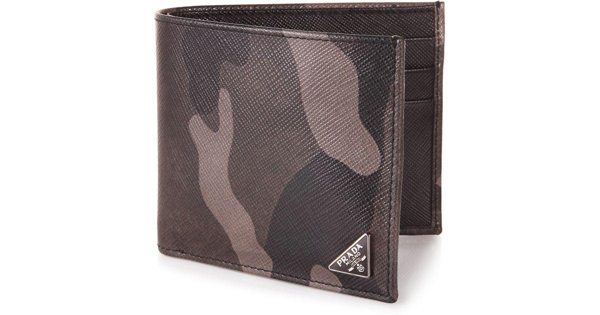 ebf01e92177eae Prada Saffiano Camouflage Billfold Wallet in Green for Men - Lyst