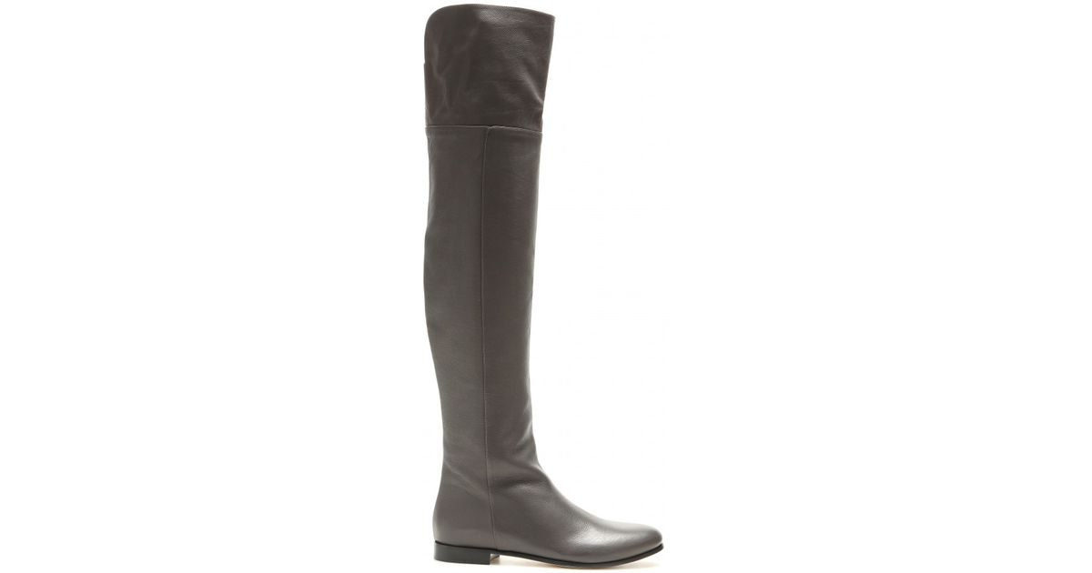 d868ce81135 Lyst - Jimmy Choo Mitty Leather Over-the-knee Boots in Gray