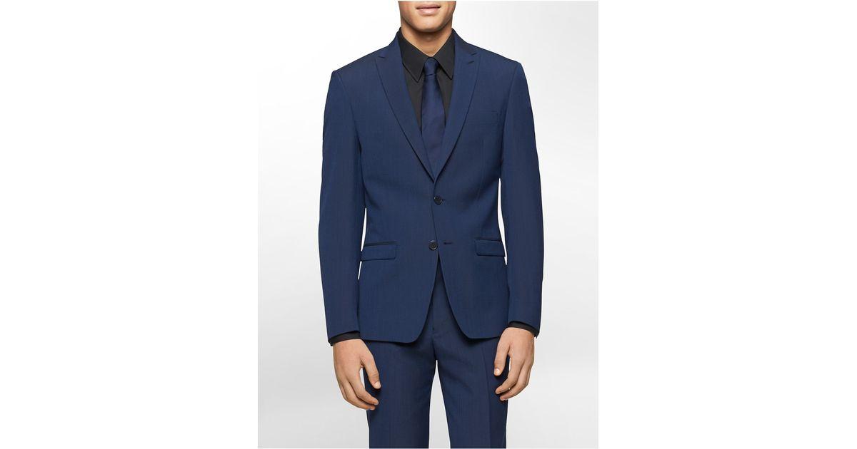 Calvin klein x fit ultra slim fit navy suit jacket in blue for Calvin klein x fit dress shirt