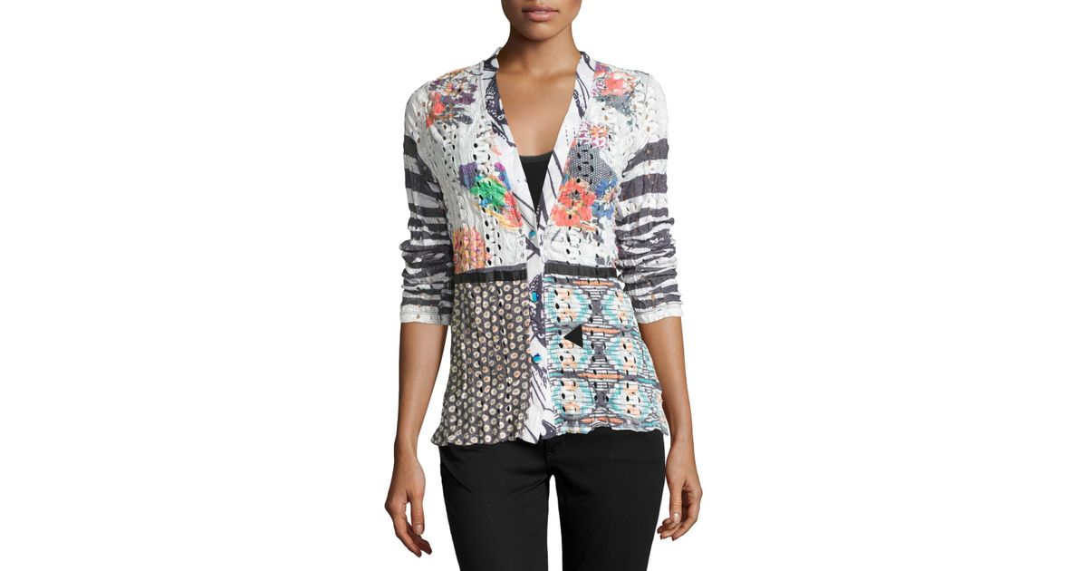 Alberto makali Patchwork Stretch-knit Cardigan in Multicolor (WHITE) Lyst