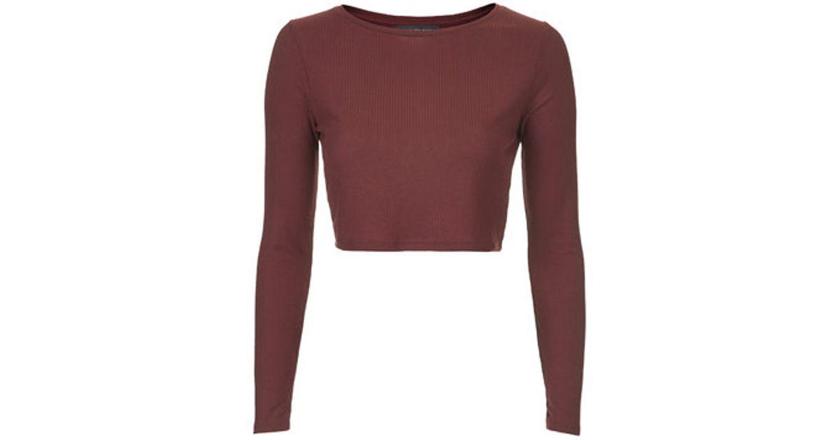 0ef74c725d4867 TOPSHOP Petite Long Sleeve Skinny Ribbed Crop Top in Purple - Lyst