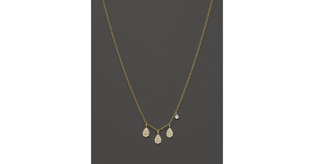 meira t 14k yellow gold teardrop pendant necklace with