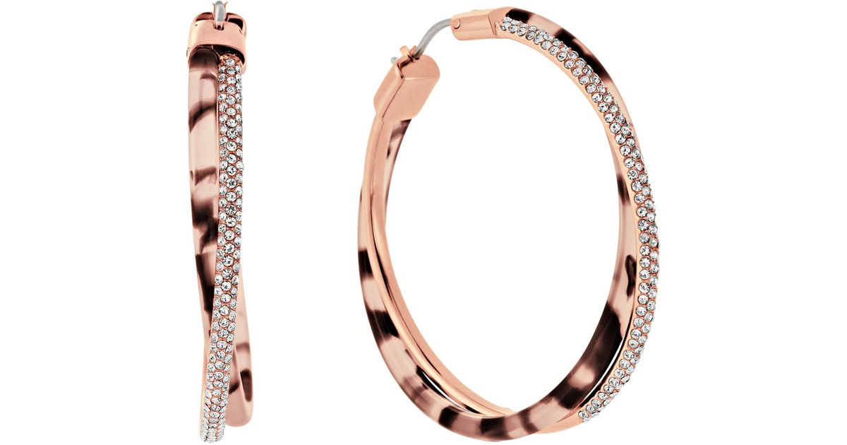 michael kors gold hoop earrings michael kors pav 233 hoop earrings in pink lyst 9509