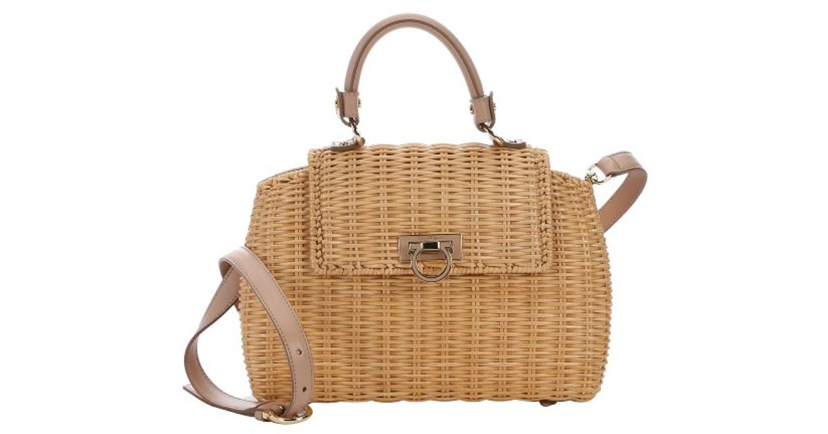 002fd8182c21 Ferragamo Natural Basket Woven Raffia Medium  Sofia  Convertible Top Handle Bag  in Natural - Lyst
