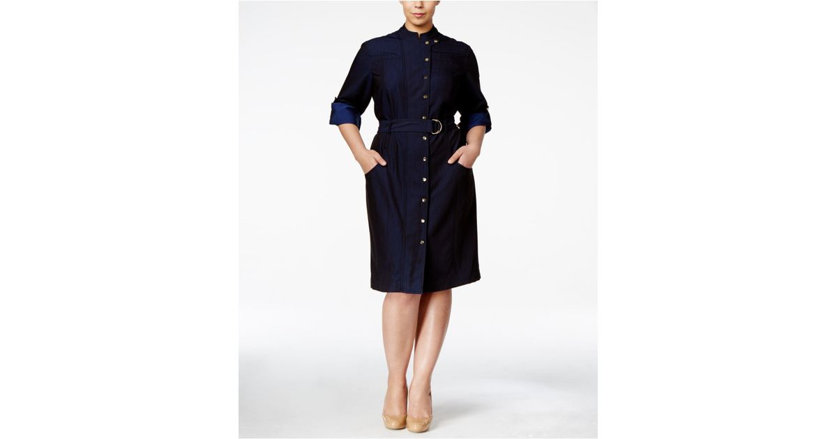 Silk Belted Shirt Dress Calvin Klein KM7OeBkRby