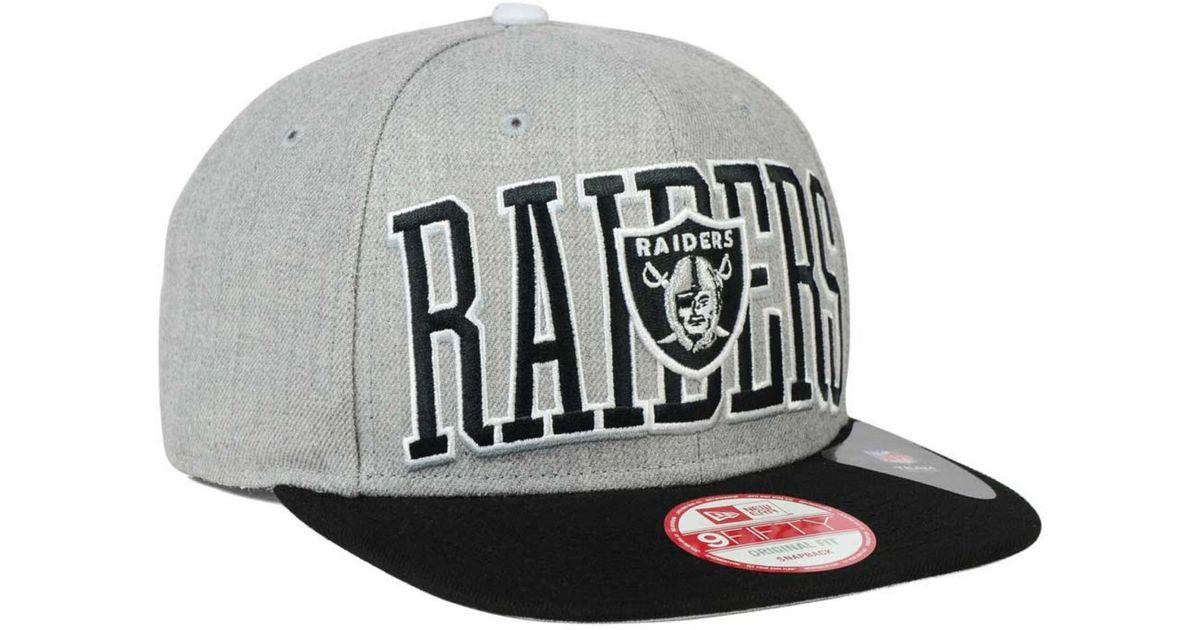 Lyst - Ktz Oakland Raiders Heather Wordmark 9Fifty Snapback Cap in Gray for  Men 727cbb2524f6