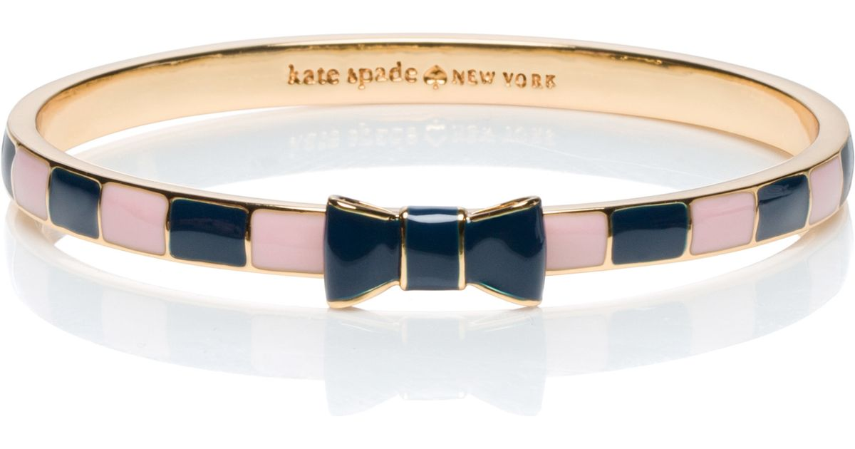 Lyst Kate Spade New York Take A Bow Striped Bow Bangle In Blue