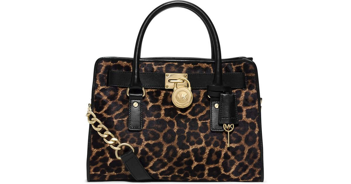 4809e4ed7019 MICHAEL Michael Kors Hamilton Cheetah-print Calf Hair Satchel Bag in Brown  - Lyst