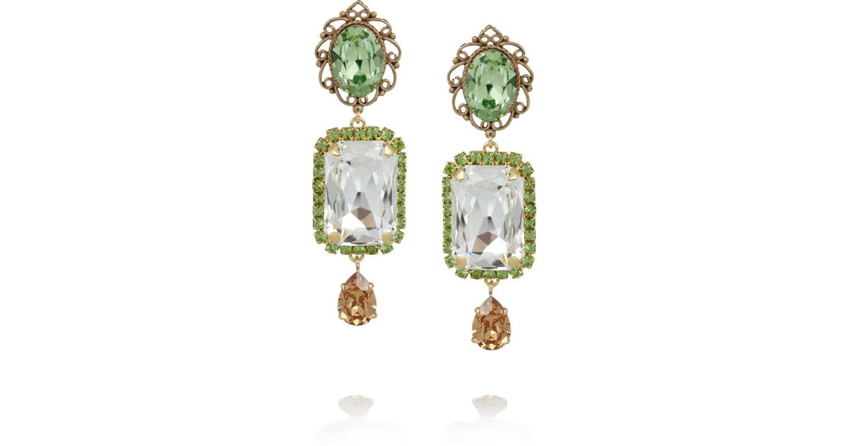 Lyst Dolce Gabbana Gold Plated Swarovski Crystal Clip Earrings In Green