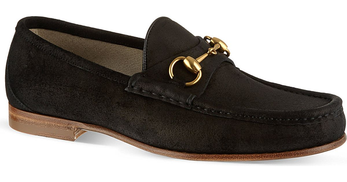 b9e326190 Gucci Roos Suede Moccasins in Black for Men - Lyst