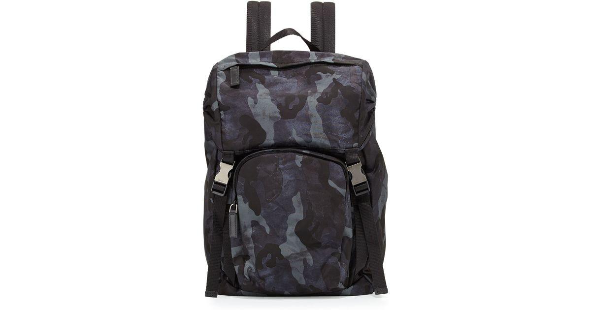 be0b6134a45d ... australia lyst prada nylon double buckle backpack in blue for men 2fc88  e1e87