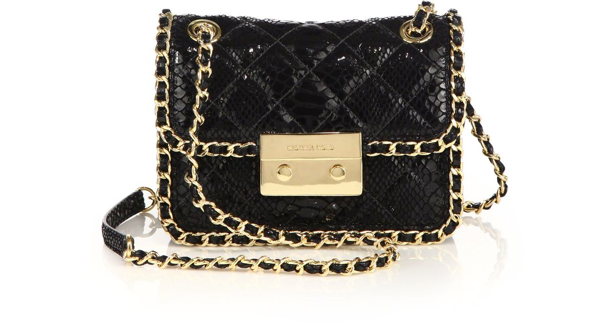 2dd871f7ef85 MICHAEL Michael Kors Carine Medium Quilted Snake-embossed Patent Leather  Shoulder Bag in Black - Lyst
