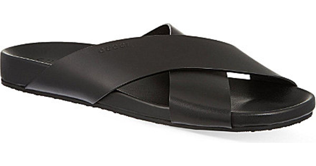 48e64ca8a263 Gucci Zenn Cross-strap Sandals in Black for Men - Lyst
