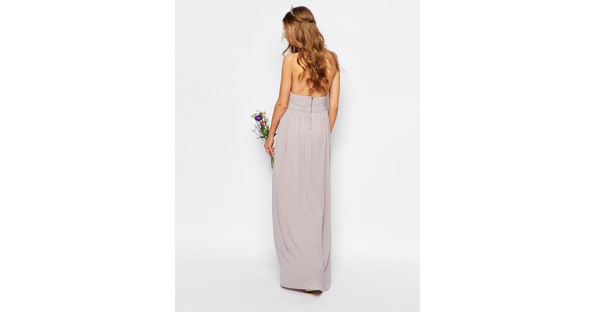 Tfnc london wedding halter chiffon maxi dress in purple for Purple maxi dresses for weddings