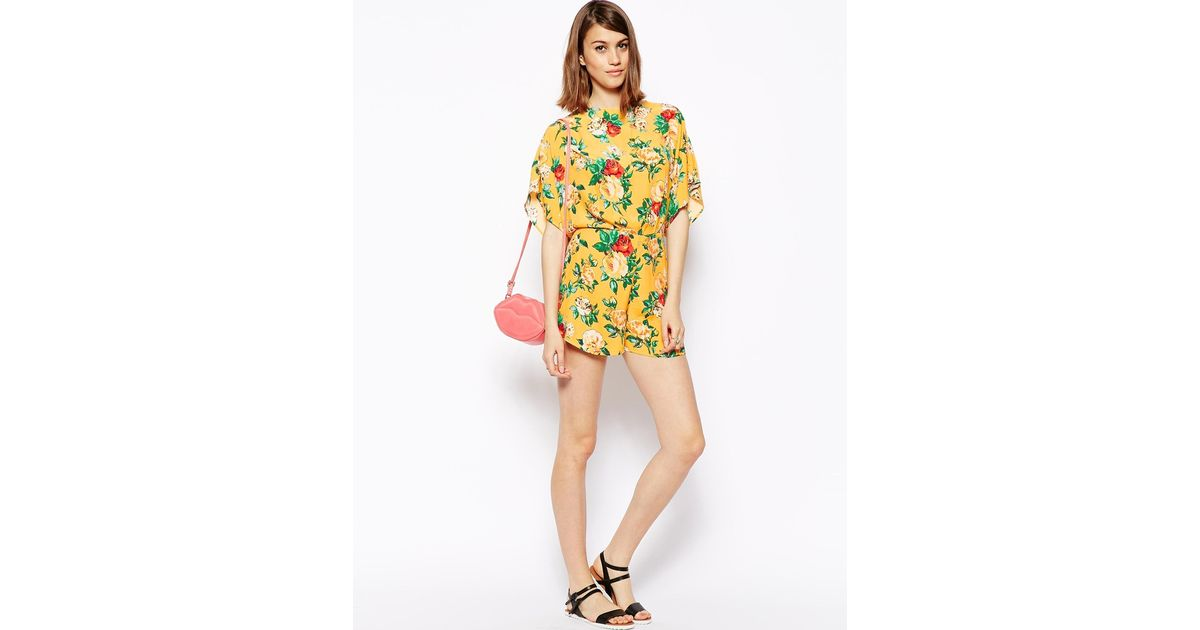 34861b29f3b Lyst - ASOS Kimono Playsuit In Vintage Floral Print in Yellow
