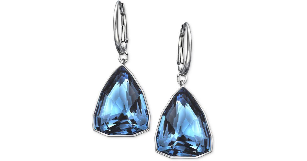 Lyst Swarovski Rhodiumplated Triangular Denim Blue Crystal Drop Earrings In