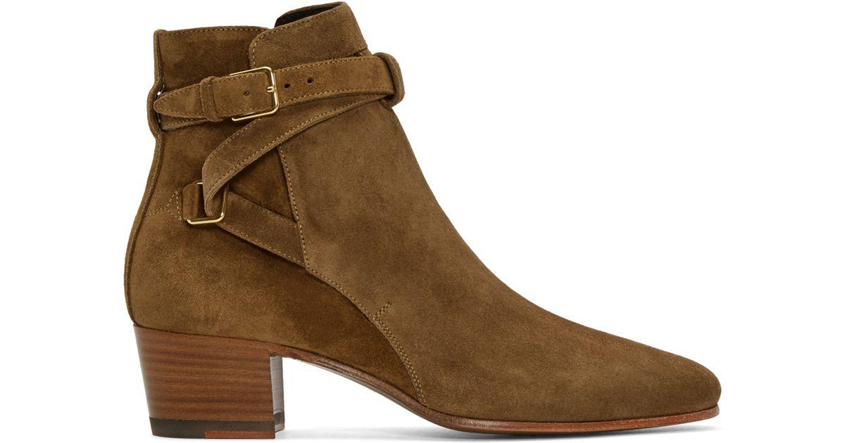 Saint Laurent Tan Suede Jodhpur Ankle Boots In Brown Tan