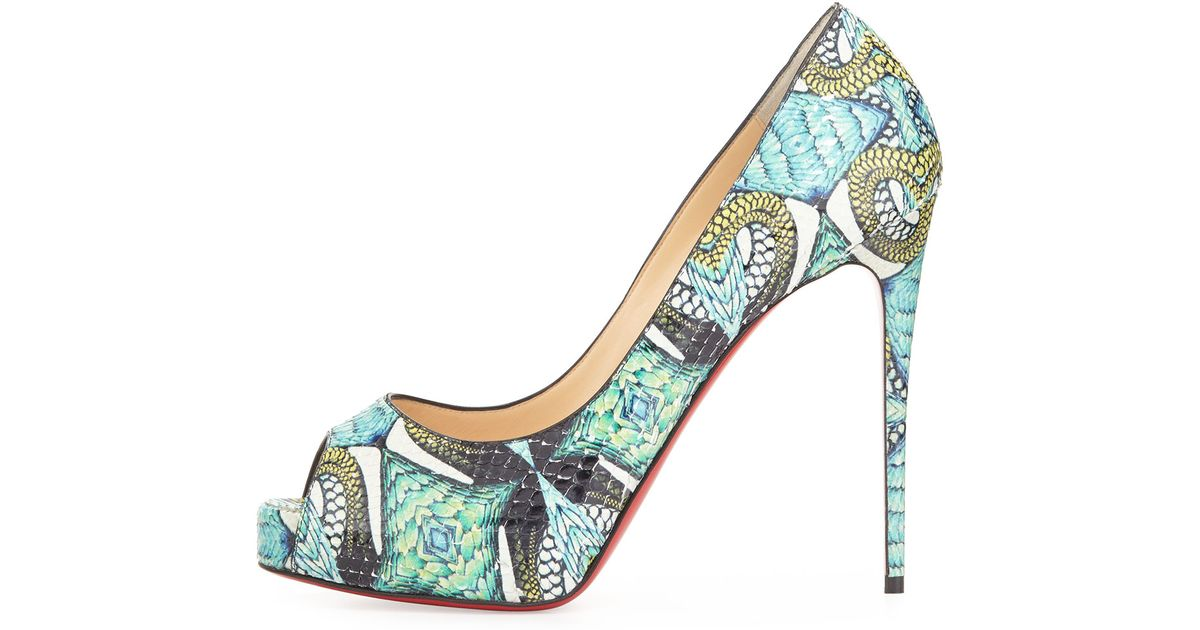 Christian louboutin Very Prive Python Pumps in Blue (red) | Lyst