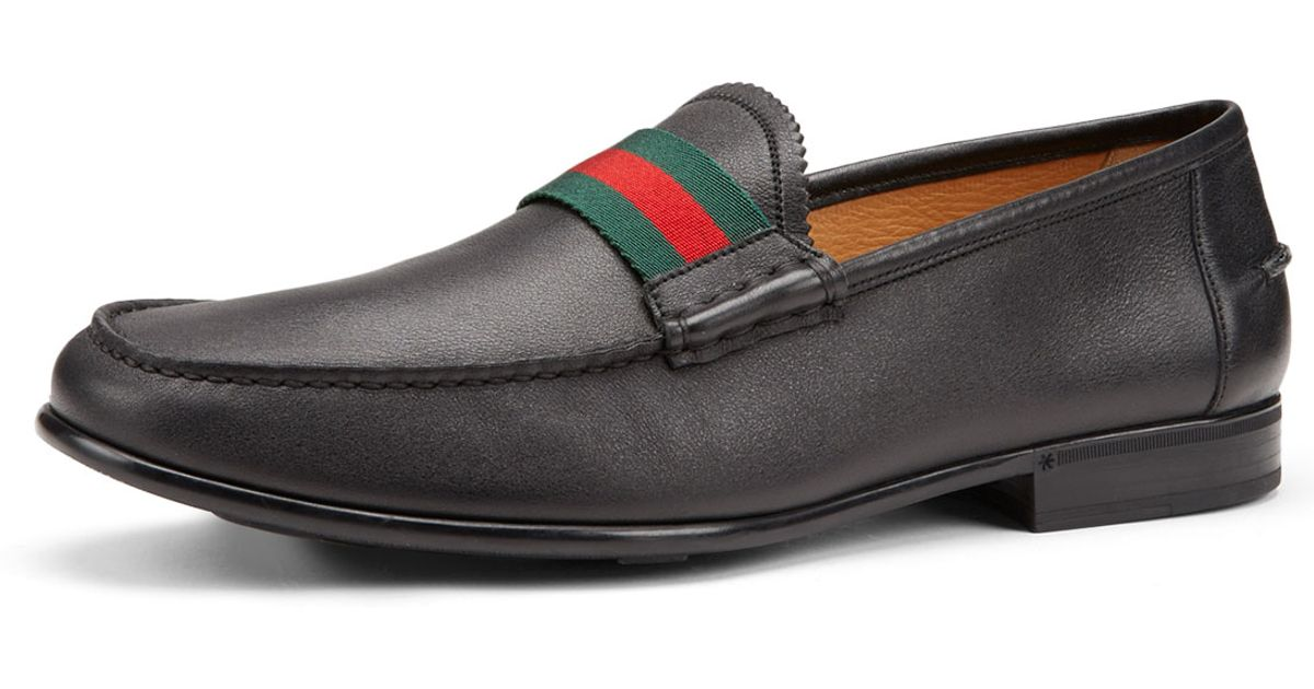 2a7332b1c38 Lyst - Gucci Frederik Leather Web Loafer in Black for Men