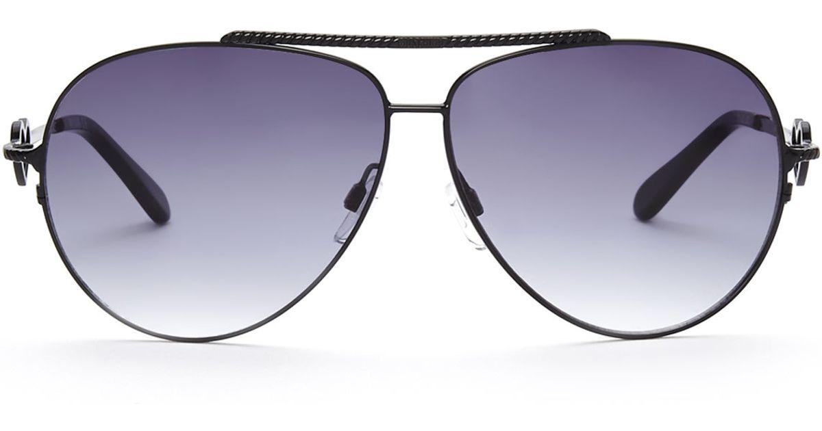 5b9c913f32d74 Moschino Mo53801 Black Aviator Sunglasses in Black - Lyst