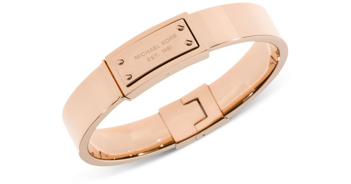 Lyst Michael Kors Rose GoldTone Logo Plaque Bangle Bracelet in