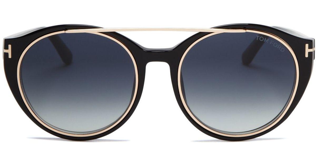 42fd25f59c1e Tom Ford Joan Round Sunglasses, 52mm in Black - Lyst