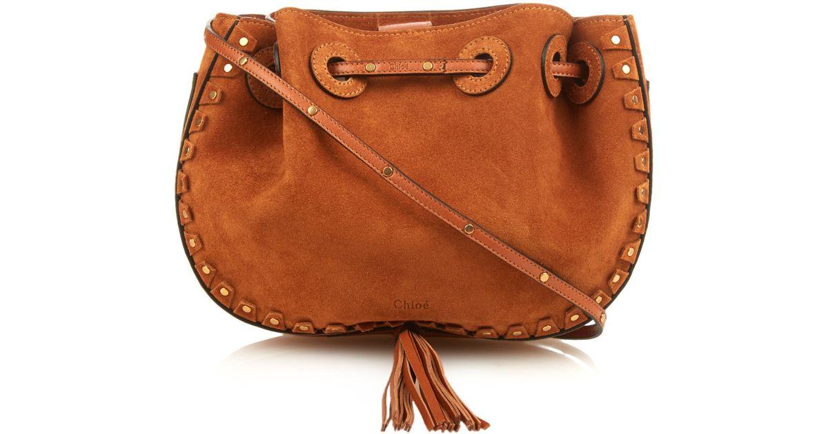 chleo handbags - Chlo�� Inez Studded-trim Suede Cross-body Bag in Brown (TAN)   Lyst