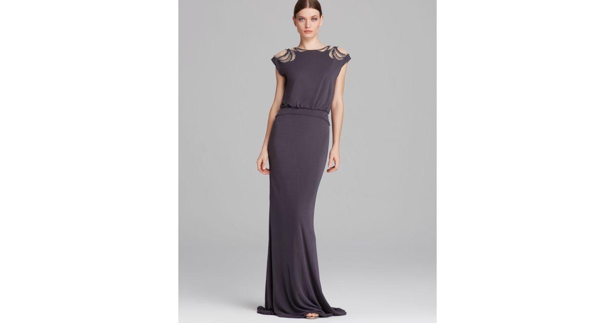 Lyst - Badgley Mischka Gown Deco Beaded Shoulder Blouson in Gray