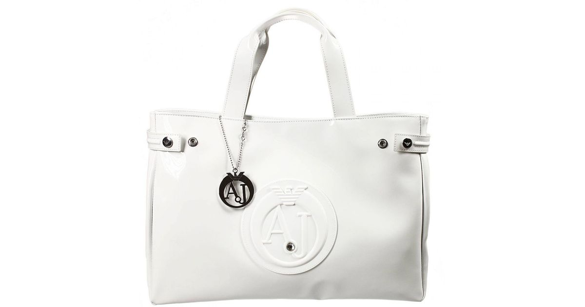 Lyst Armani Jeans Handbag Patent Leather Classic Ping Bag With Rhinest In White