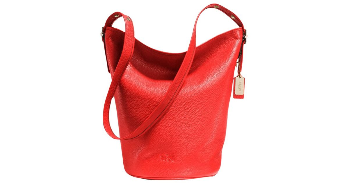 b27a60745e4c netherlands coach duffle leather bucket bag in red lyst 080e0 a1f30