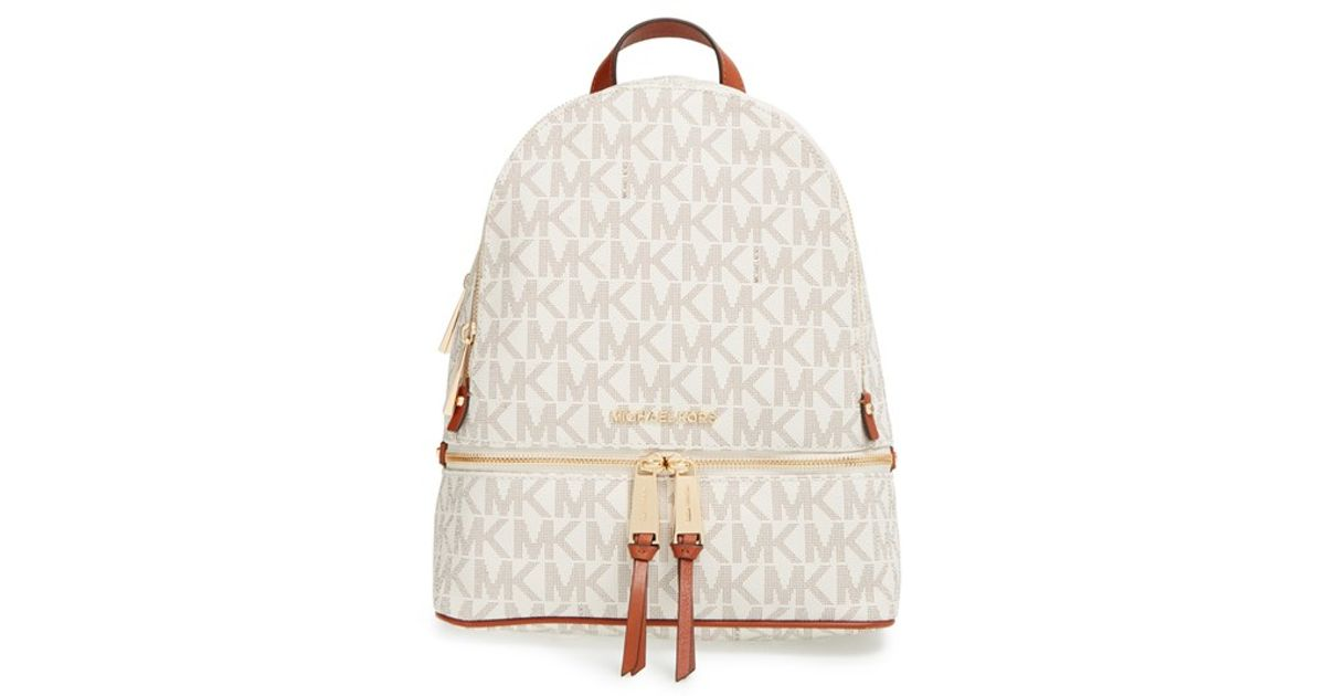 ac6a1aae733 MICHAEL Michael Kors 'small Rhea Zip' Leather Backpack in White - Lyst