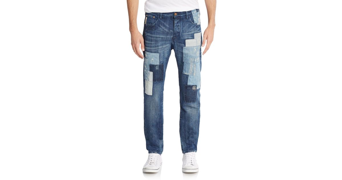 2b07b8361c Lyst - Armani Jeans Distressed Patchwork Jeans in Blue for Men