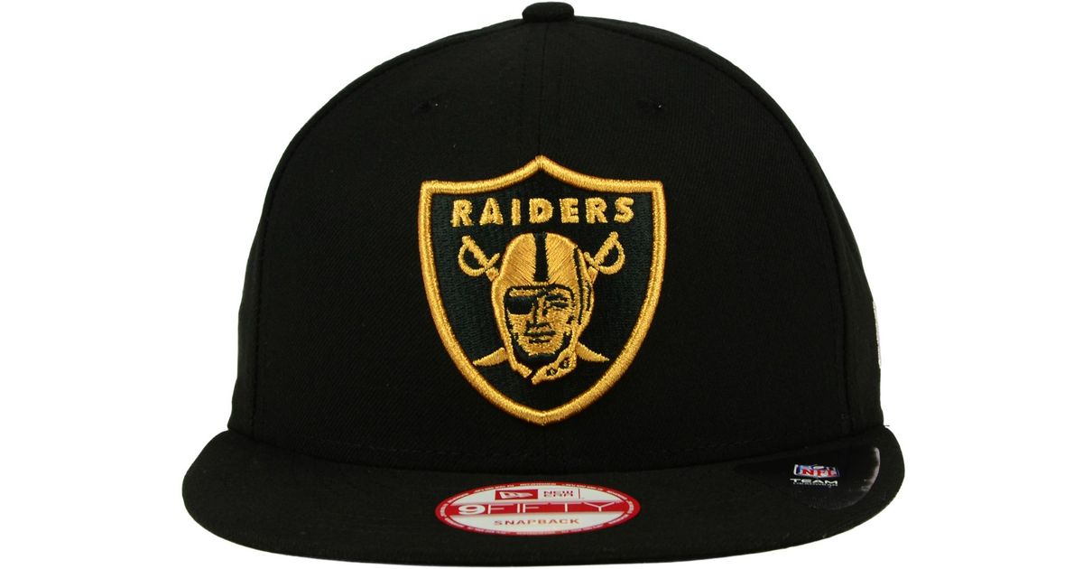 Lyst - KTZ Oakland Raiders Black Metallic Gold 9fifty Snapback Cap in Black  for Men 4966b3c063cf