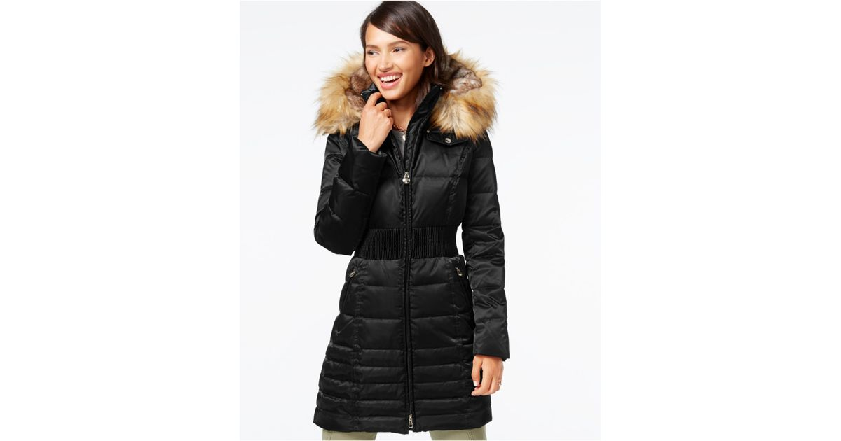 cc931ec76ec Lyst - Laundry by Shelli Segal Faux-fur-hood Down Puffer Coat in Black