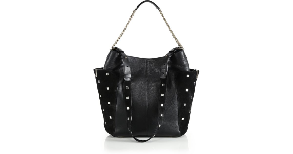 Jimmy choo Anna Studded Leather & Suede Shoulder Bag in Black | Lyst