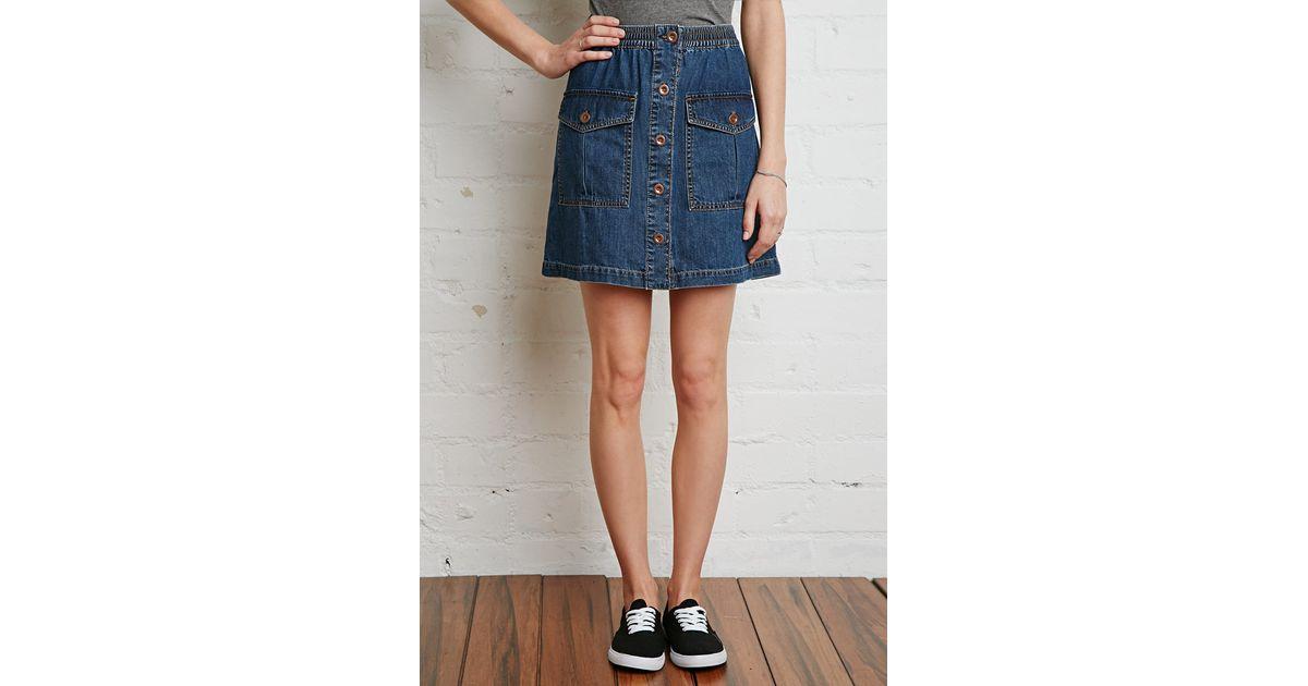 Forever 21 Button-down Denim Mini Skirt in Blue | Lyst