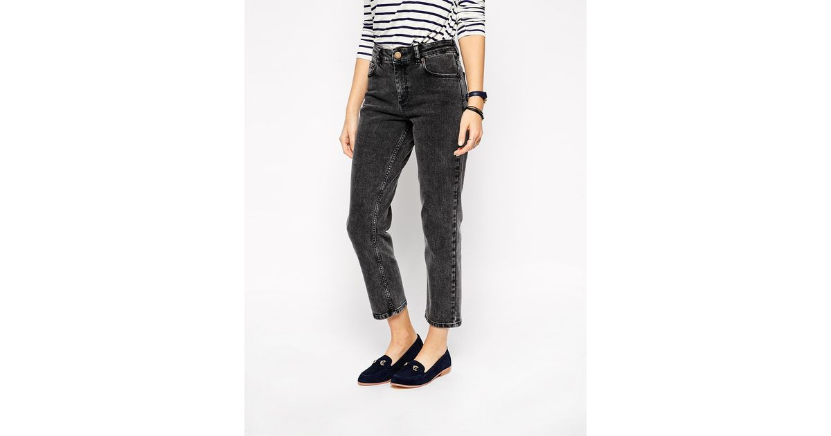 fd5a31c6c0 ASOS Thea Girlfriend Jeans In Black Acid Wash in Blue - Lyst