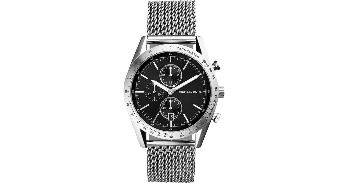 30164d7dbf15 Lyst - Michael Kors Men S Chronograph Accelerator Stainless Steel Mesh  Bracelet Watch 42Mm Mk8387 in Metallic