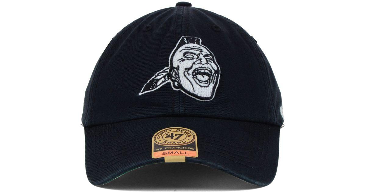 new product 53c69 e2e4d ... new zealand lyst 47 brand atlanta braves lights out franchise cap in  black for men 42183