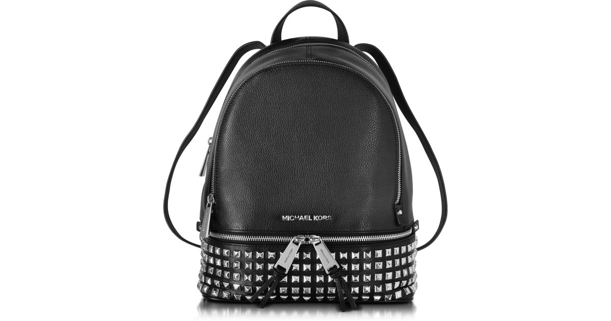 7fe5a43bc70b1 Michael Kors Rhea Zip Small Studded Leather Backpack in Black - Lyst
