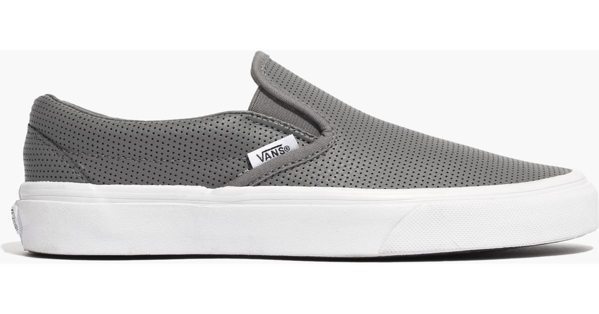 723f4f3737 Lyst - Madewell Vans® Classic Slip-on Sneakers In Grey Perforated Leather  in Gray