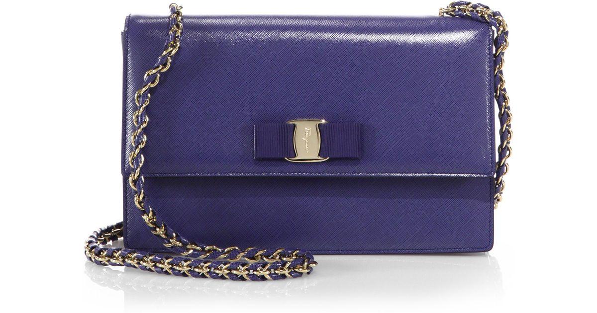 Lyst - Ferragamo Vara Ginny Medium Saffiano Leather Shoulder Bag in Blue c57d2f9fdddc7