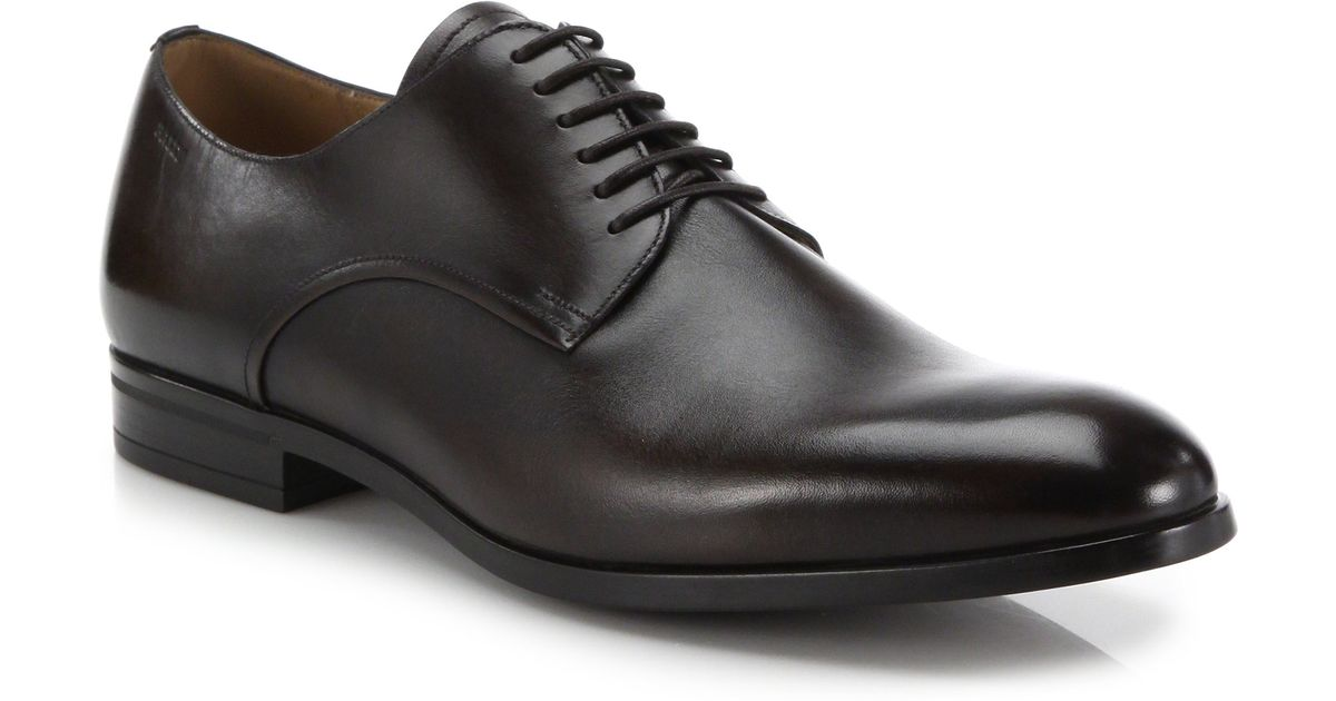 bally lausanne leather derby shoes in brown for lyst