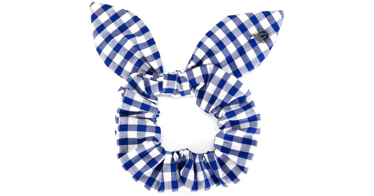 Lyst - Maison Michel Gingham Hair Tie in Blue 53dfc611fe5
